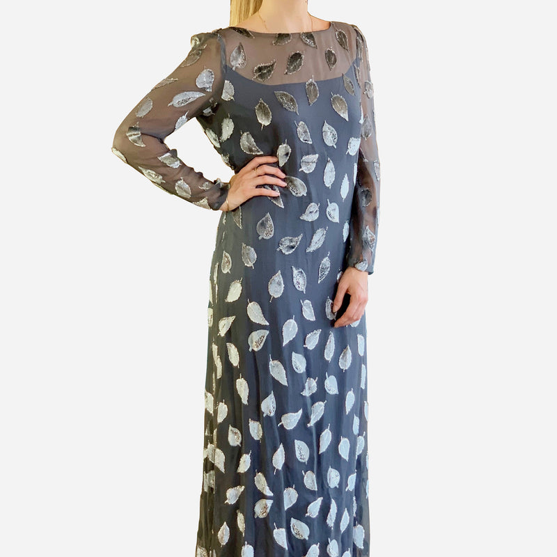 Silver 'Leaf' Long Sleeve Floor-Length Dress