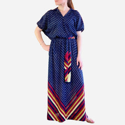 Vintage Navy Liola Casual Maxi Dress