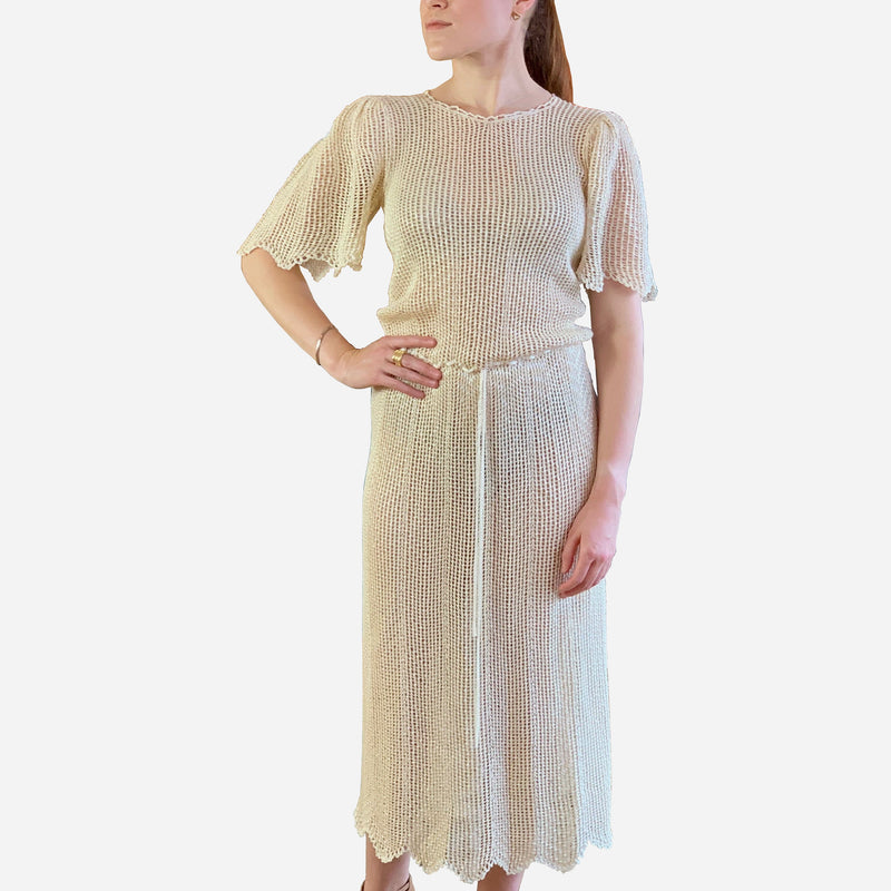 Cream Mid-Length Sheer Crochet Dress