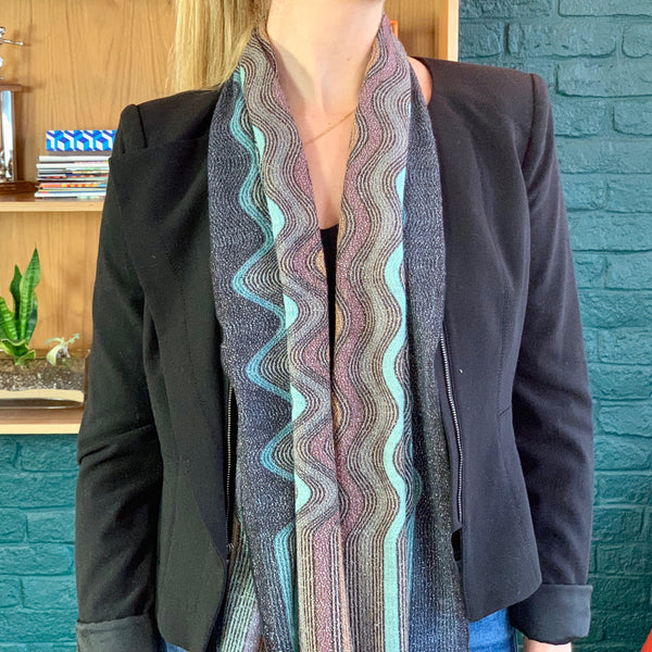 Metallic Multicolored Knit Scarf