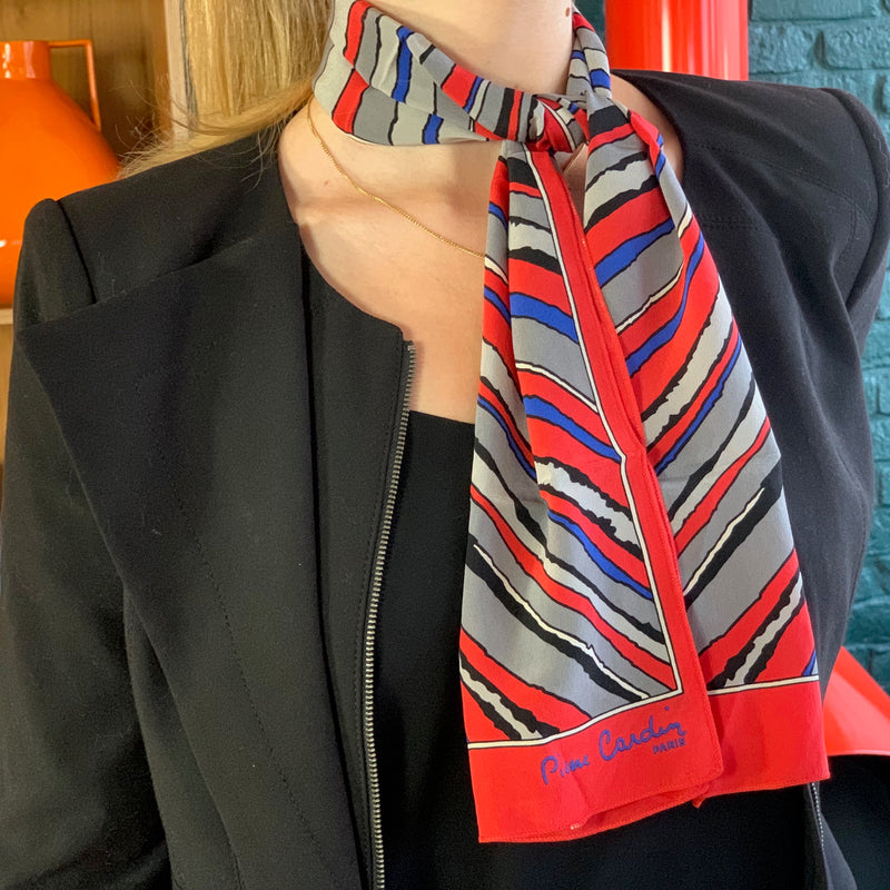 Vintage Pierre Cardin Red Blue Grey and Black Silk Scarf