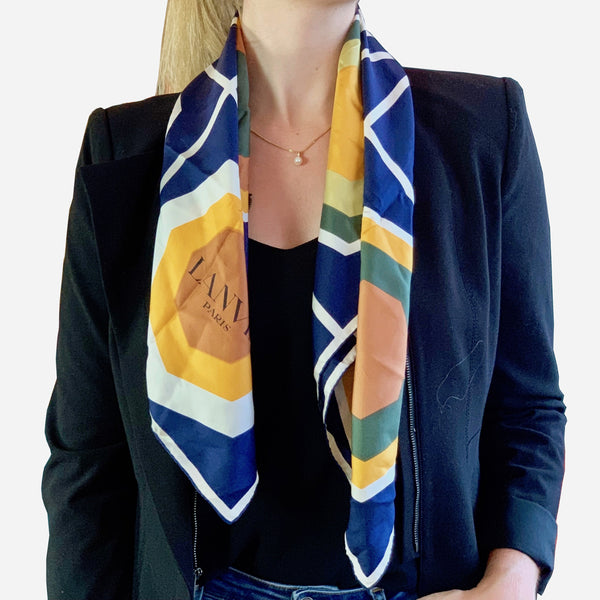 Multicolored Geometric Square Silk Scarf