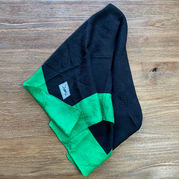 Yves-Saint Laurent Black and Green Square Silk Scarf