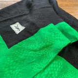 Black and Green Square Silk Scarf