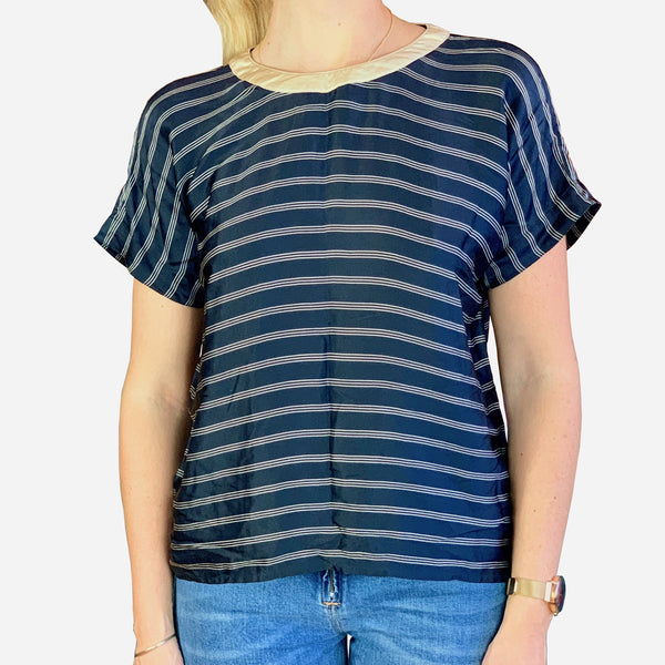 Navy-Blue Striped Short-Sleeve Blouse