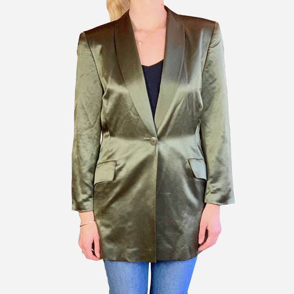 Escada by Margaretha Ley Metallic Green Oversized Blazer