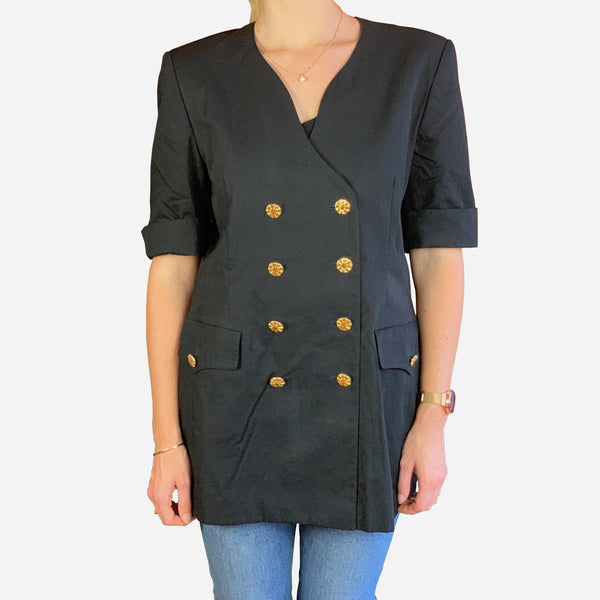 Escada by Margaretha Ley Black Short-Sleeve Double-Breasted Blazer