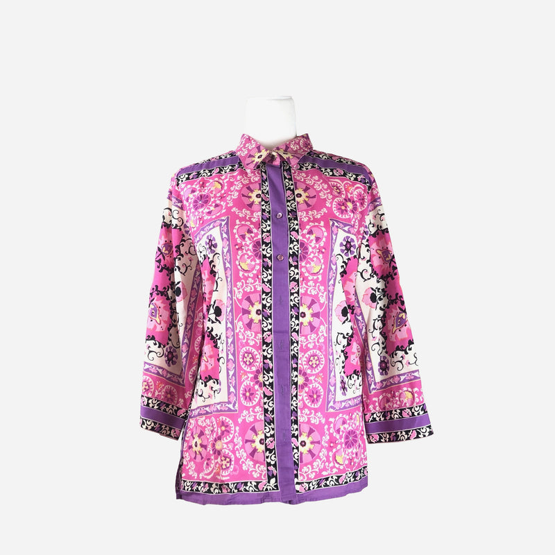 Robert Graham Mulitcolored Floral Print Button-Up Top