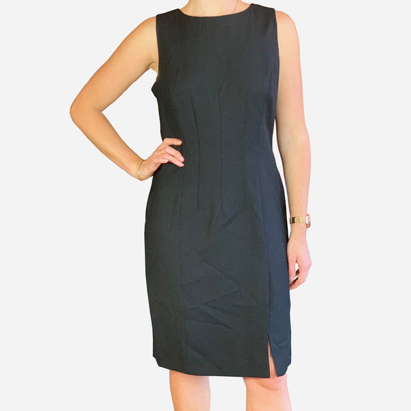 Giorgio Armani Black Sleeveless Wool Knee-Length Dress