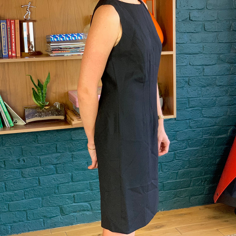 Black Sleeveless Knee-Length Wool Dress