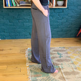 Brown and Black Wide-Leg Silk Pants