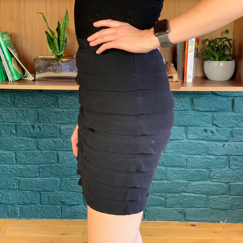 Black Cotton Tiered Mini Skirt