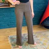 Brown Wool Wide-Leg Pants