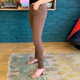 Brown Coated 'Lola' Stovepipe Skinny Jeans