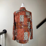 Multicolored Paisley Pattern Button-Up Blouse