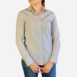 Brunello Cucinelli Light-Blue Embellished Collar Button-Up Blouse