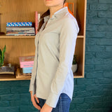 Light-Blue Embellished Collar Button-Up Blouse