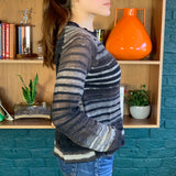 Striped Light Weight Sheer Wool Knit Sweater