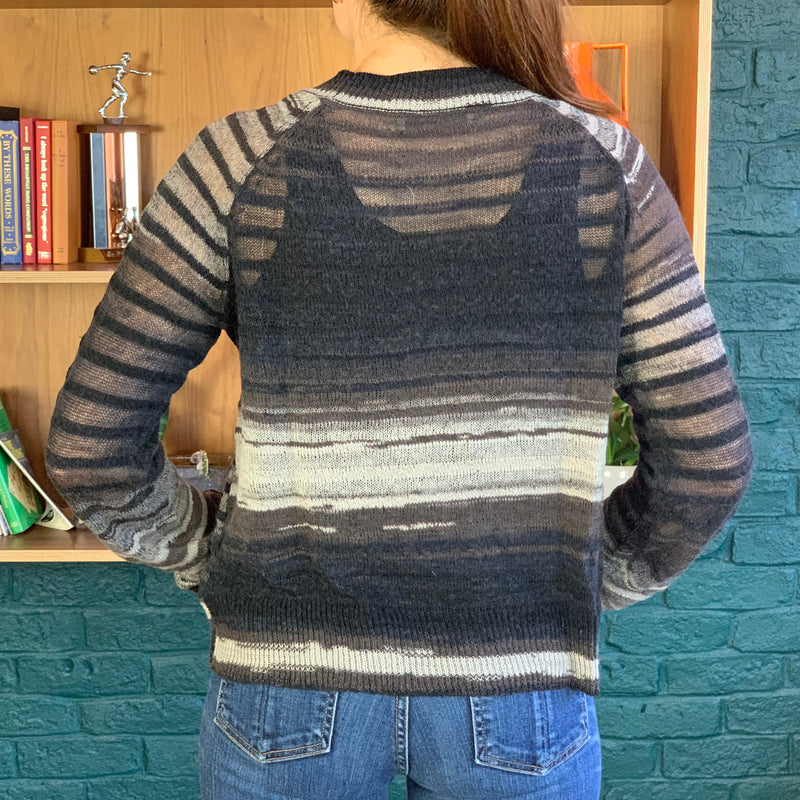 A.L.C. Striped Light Weight Sheer Wool Knit Sweater
