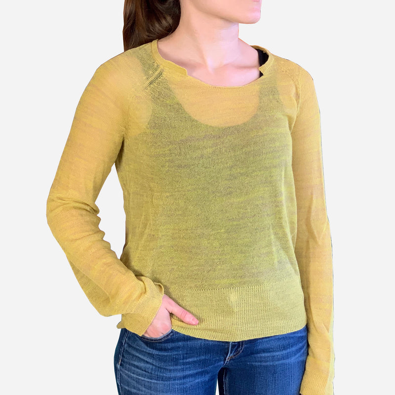 Yellow Light Weight Sheer Knit Long Sleeve Sweater