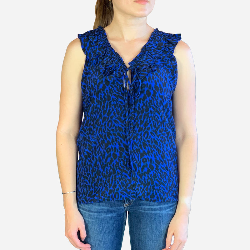 Blue and Black Silk Sleeveless V-Neck Blouse