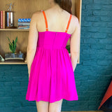Pink and Orange Silk Sleeveless Dress