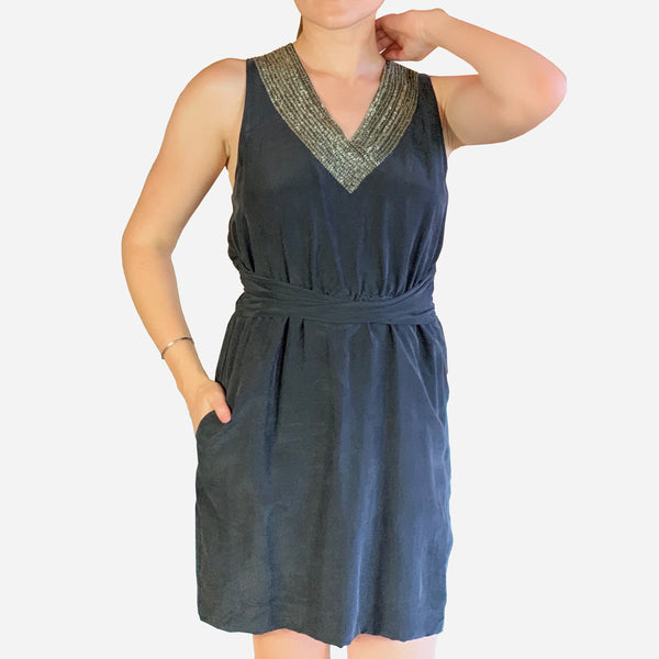 Theory Dark-Gray Embellished V-Neck Sleeveless Silk Dress