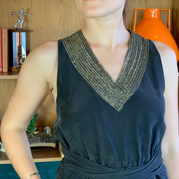 Dark-Gray Embellished V-Neck Sleeveless Silk Dress
