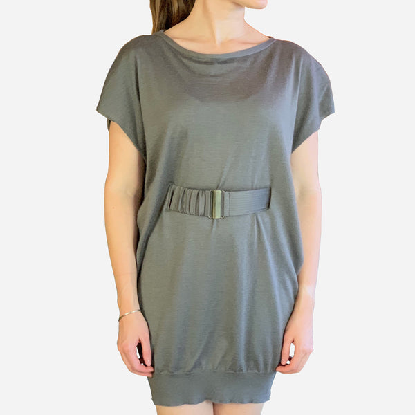 Taupe Short-Sleeve Light-Weight Knit Cashmere Sweater Dress