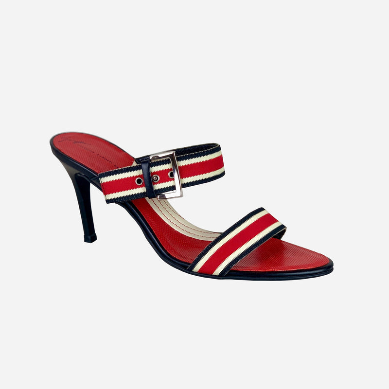 Double Strap Striped Low Heeled Sandals