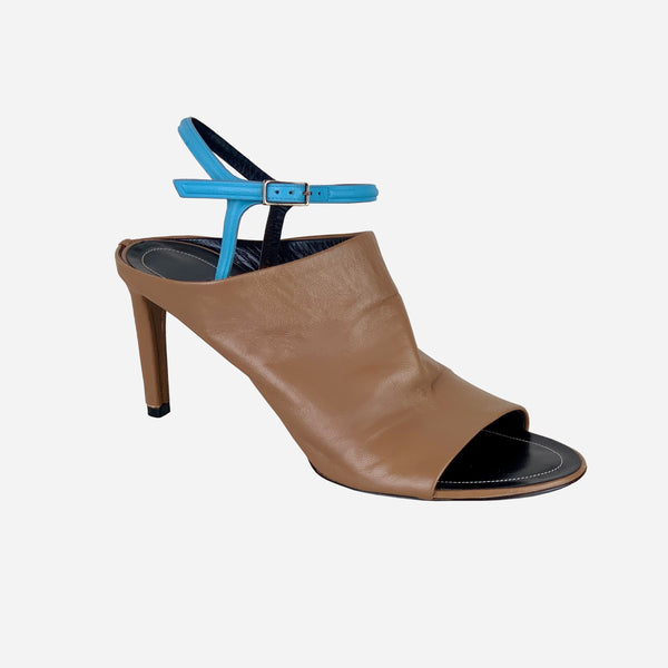 Balenciaga Light-Brown Peep-Toe Ankle Strap Pumps