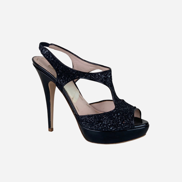 Black Sequin Platform Pumps