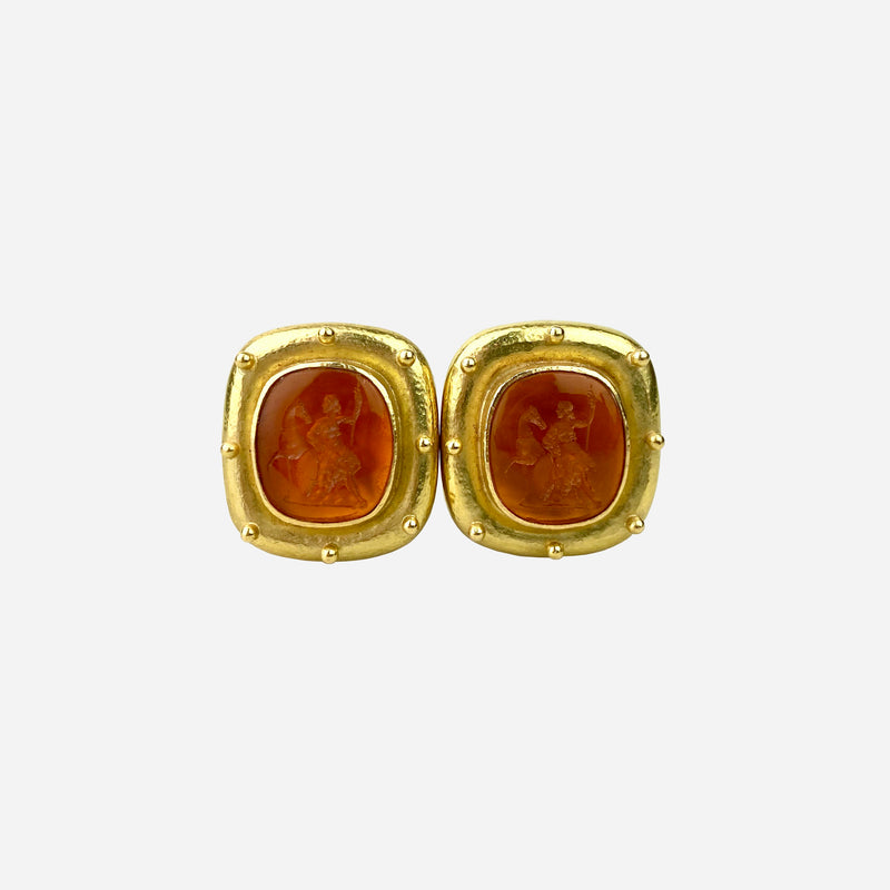 18K Yellow Gold and Orange Intaglio Ear Clip Earrings