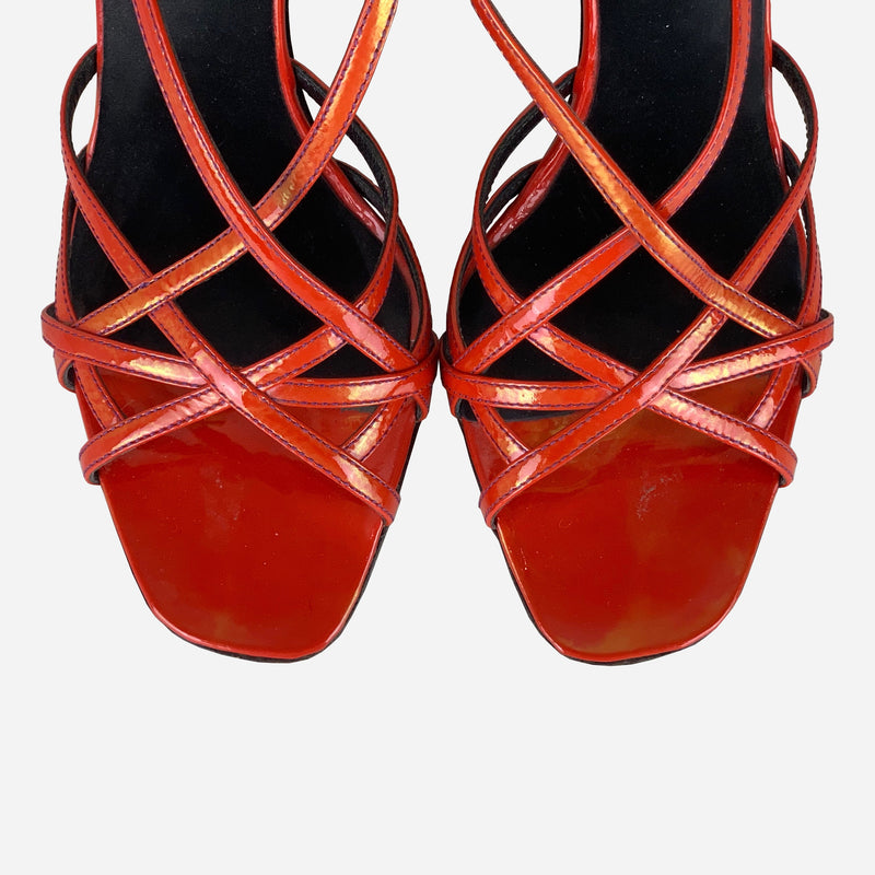 Red Iridescent Patent Leather Wedge Sandals