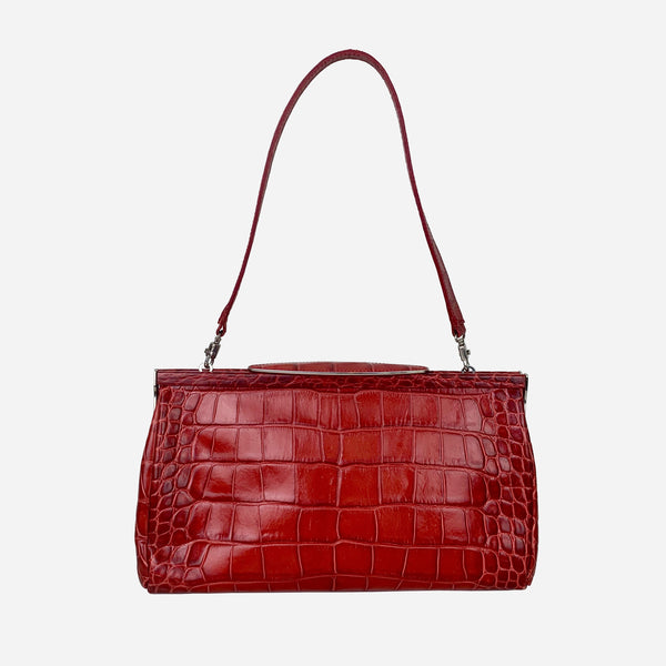 Furla Red Embossed Leather Shoulder Bag