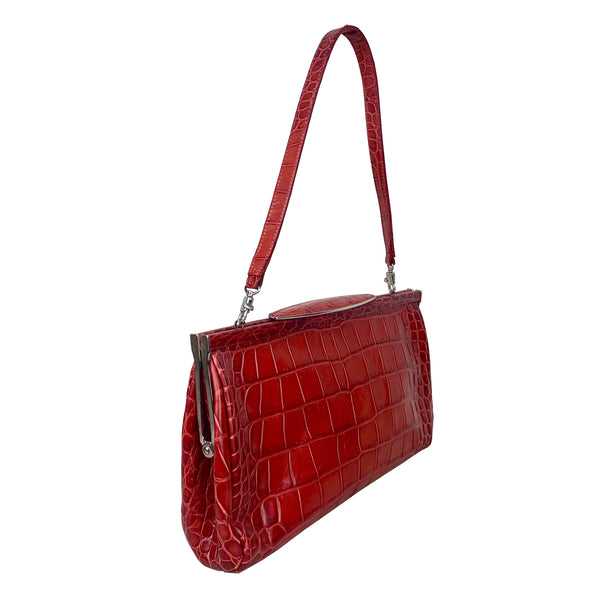 Red Embossed Leather Shoulder Bag