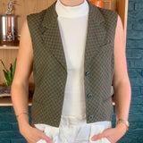 Green Notch-Lapel Structured Wool Vest