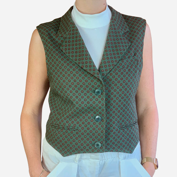 MaxMara Green Notch Lapel Structured Wool Vest