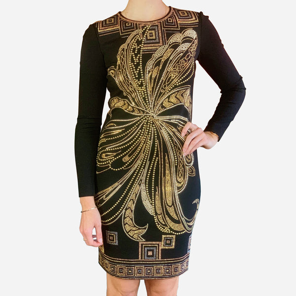 Emilio Pucci Black Long-Sleeve Embellished Knee-Length Dress