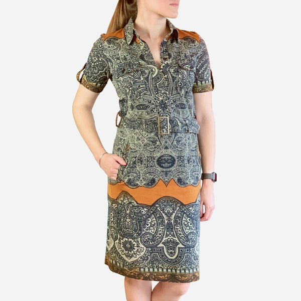 Abstract Printed Knee-Length Dress