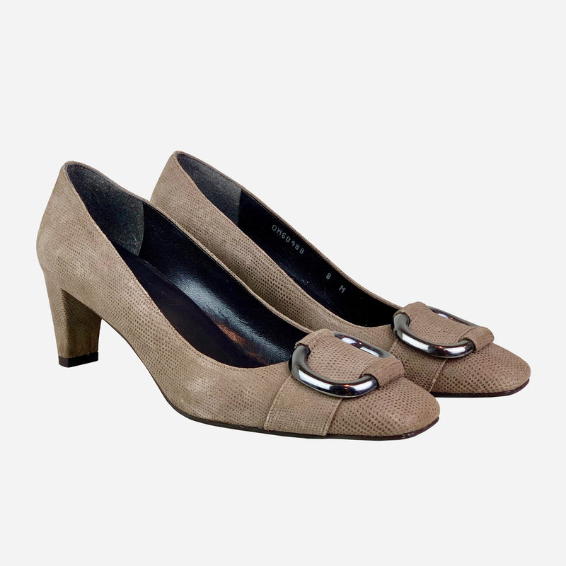 Taupe Square-Toe Low-Heeled Pumps