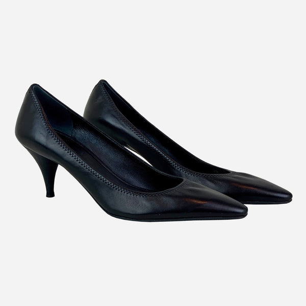 Black Pointed-Toe Low-Heeled Pumps