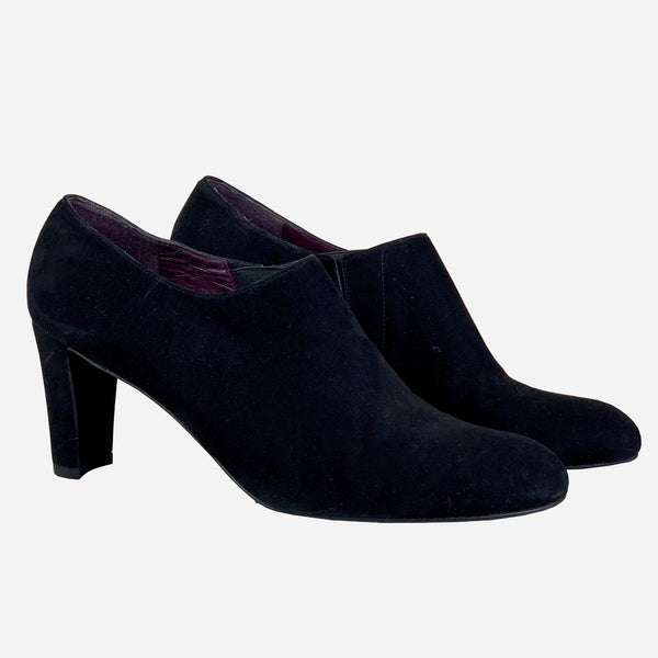 Black Suede Low-Heeled Ankle Boots