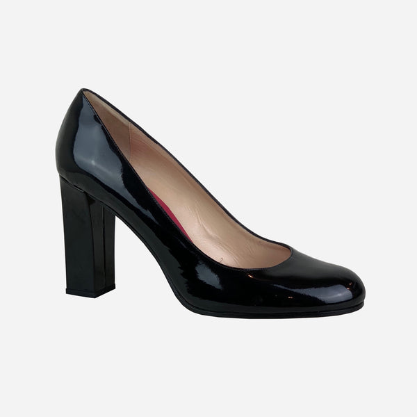 Kate Spade Black Patent Leather Round-Toe Pumps