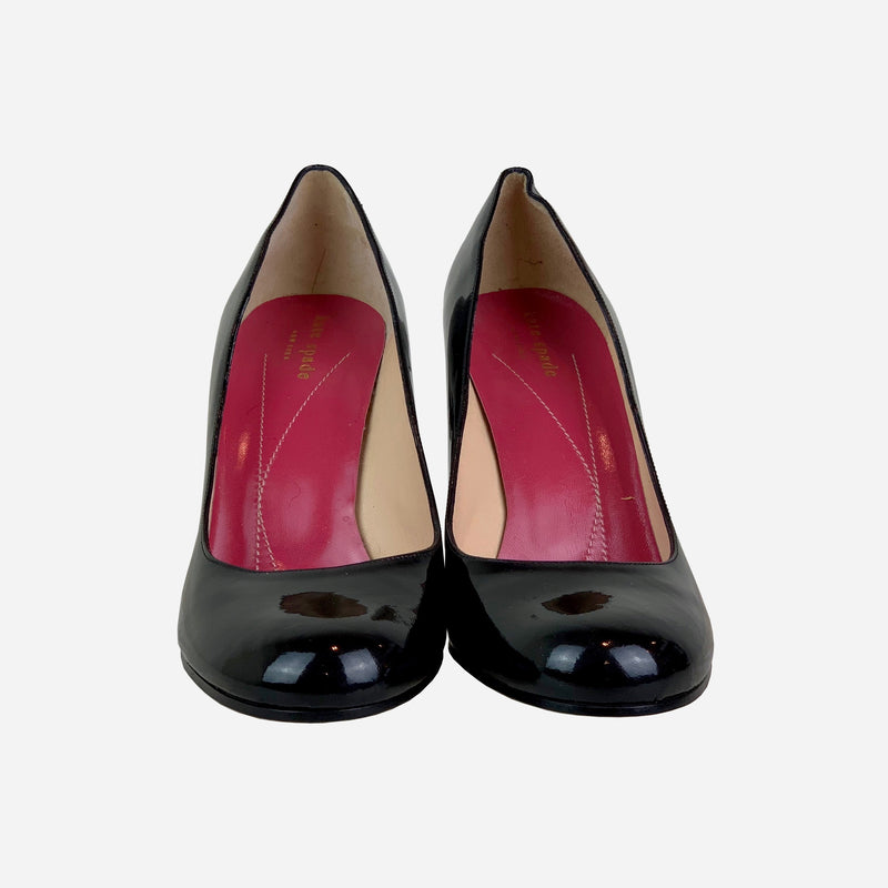 Black Patent Leather Round-Toe Pumps