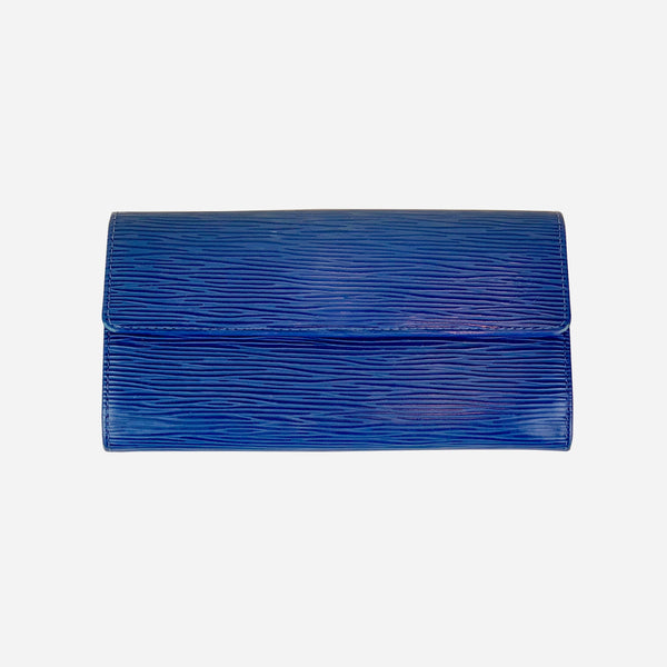 Blue Epi Leather Sarah Wallet