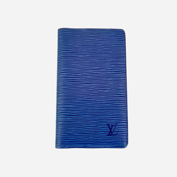 Blue Epi Leather Pocket Checkbook Cover