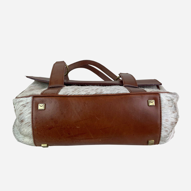 Brown Leather and Calf Hair Shoulder Bag