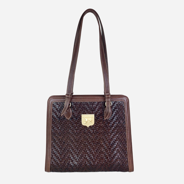 Dark-Brown Woven Leather Tote