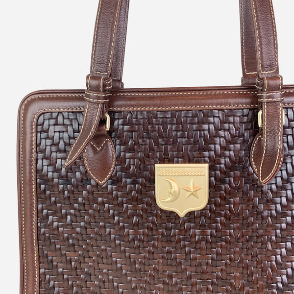Kieselstein-Cord Dark-Brown Woven Leather Tote